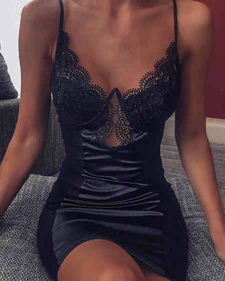 Spaghetti Strap Lace Slip Dress