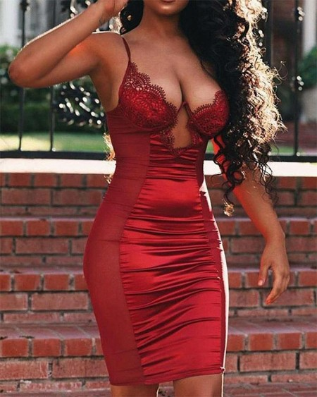 Lace Patchwork Strap Skinny Bodycon Dress