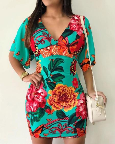 Floral Print V-Neck Casual Dress