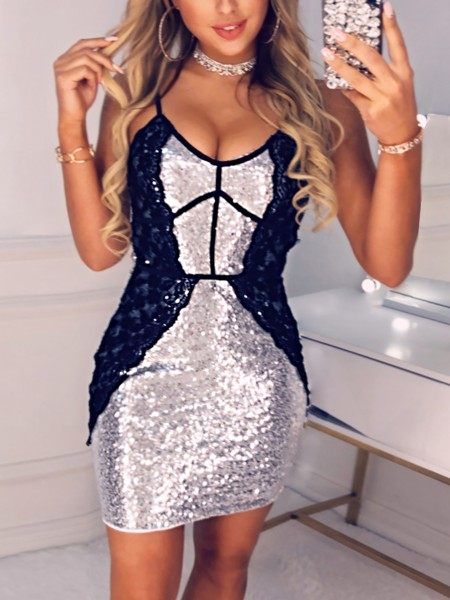 Lace Splicing Sequin Party Dress