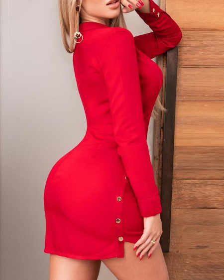 Buttoned Plunge Bodycon Shirt Dress