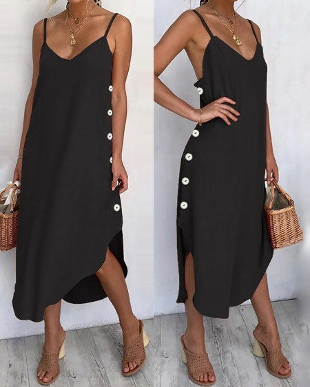 Button Design Slit Spaghetti Strap Irregular Dress