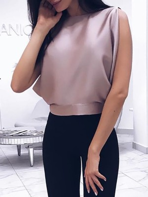 Solid Slit Knotted Back Casual Blouse