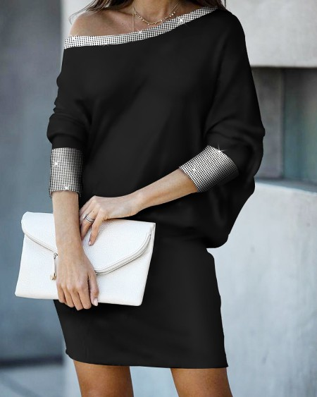 Asymmetric Neck Glitter Studded Dress