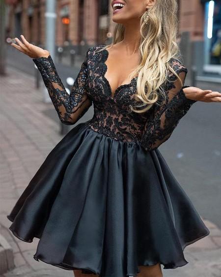 Sheer Lace Top Mini Dress