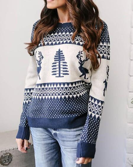 Christmas Moose Tree Pattern Casual Sweater