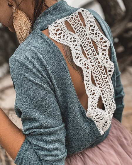 Mock Neck Lace Insert Open Back Blouse