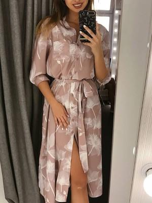 Floral Print Belted Button Through Shirt Dress