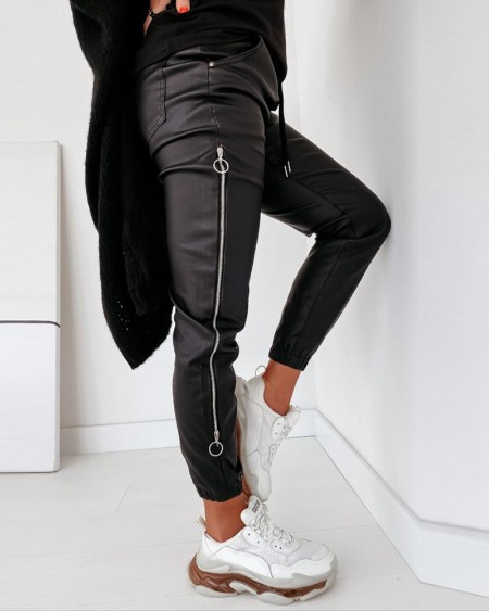 Zipper Design Drawstring Ruched Pants