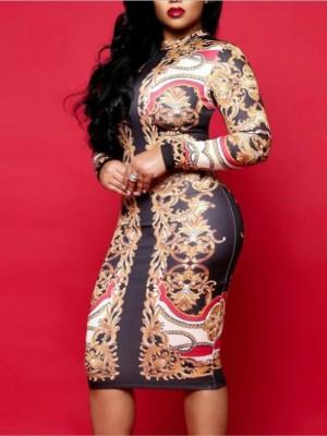 Tribal Print Long Sleeve Midi Dress