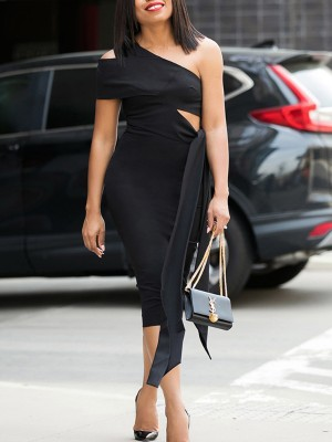 One Shoulder Cutout Tie Waist Bodycon Dress