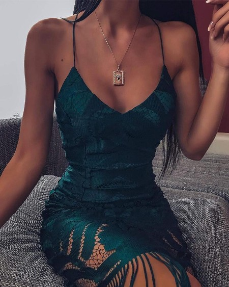 Green Openwork Slip Mini Dress