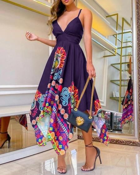Floral Print Plunge Cami Asymmetrical Dress