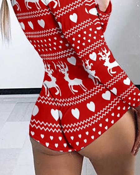 Christmas Reindeer Heart Print Long Sleeve Romper