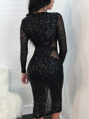 Sequins Slit Slinky Bodycon Dress