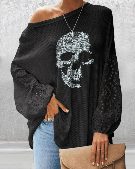 Glitter Skeleton Lantern Sleeve Top