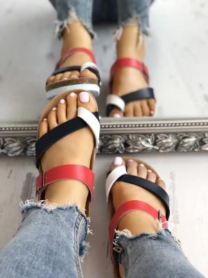 Contrast Color Crisscross Toe Post Flat Sandals