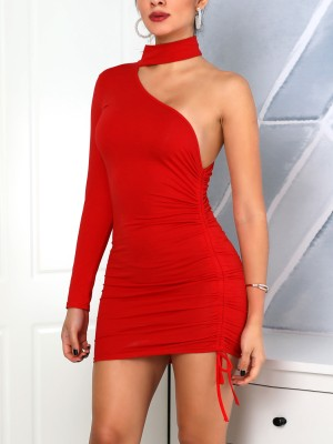 Long Sleeve One Shoulder Drawstring Dress