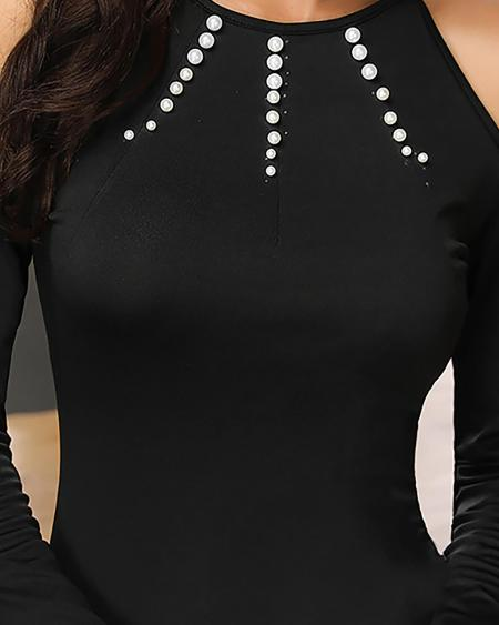 boutiquefeel / Beaded Embellished Cold Shoulder Bodycon Dress