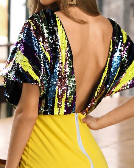 boutiquefeel / Deep V Neck Sequin Bodycon Dress