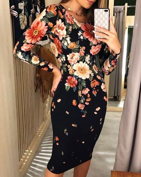Floral Print Drawstring Cutout Back Bodycon Dress