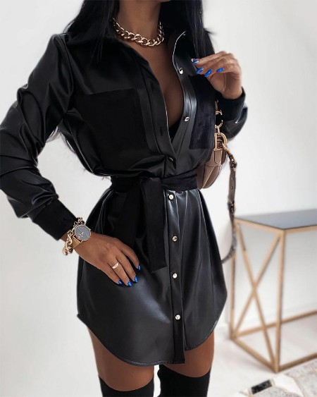 Solid Long Sleeve Button-down Shirt PU Dress