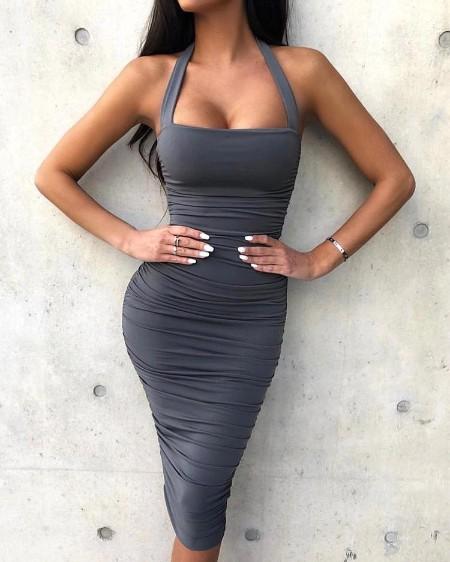 Halter Ruched Design Bodycon Dress