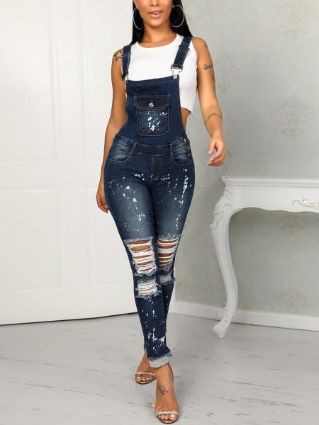 Denim Distressed Holey Pocket Suspenders Jumpsuit