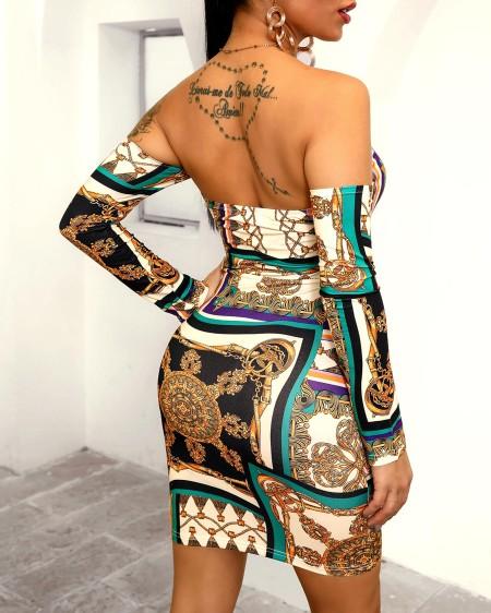 Off Shoulder Mixed Print Bodycon Dress