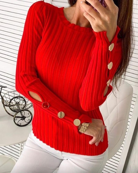 Buttoned Ribbed Casual Blouse