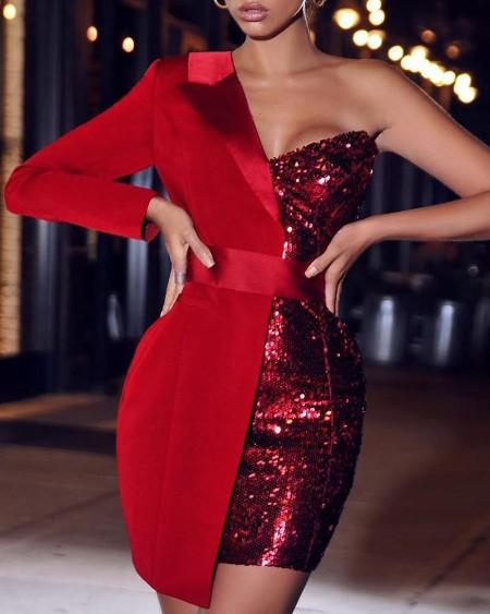 One Shoulder Sequin Patchwork Party Dress