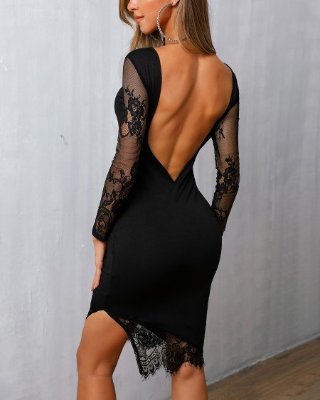 boutiquefeel / Open Back Mesh Lace Insert Bodycon Dress