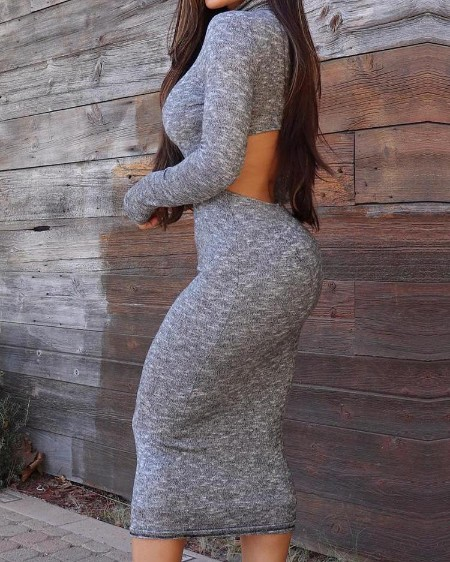 Solid Cut Out Back Slinky Pencil Dress