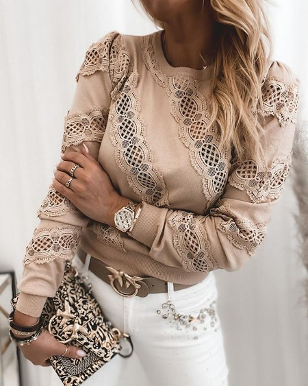 Casual Stitching Long Sleeve Sweater