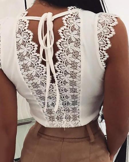 Women Fashion Sleeveless Lace Stitching Top