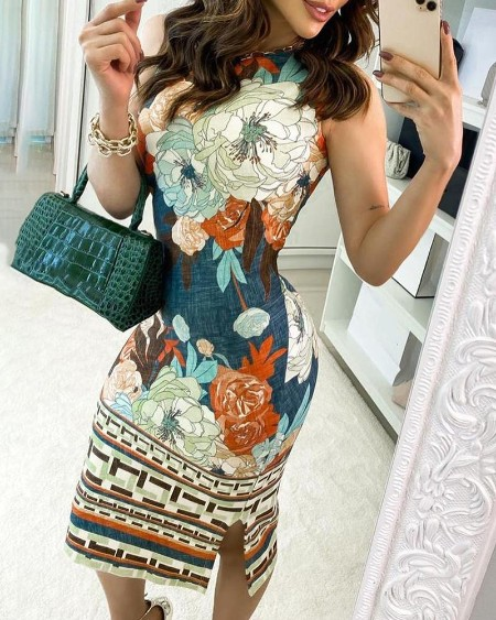 Floral Print Sleeveless Side Slit Casual Dress