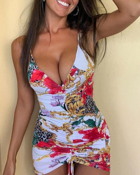 Plunge Cheetah Floral Print Ruched Bodycon Dress