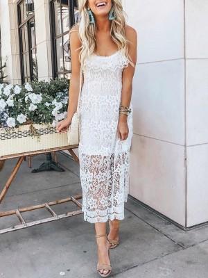 Crochet Lace Overlay Crisscross Back Slip Dress