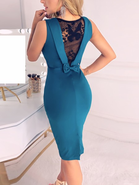 Lace Insert Bowknot Back Bodycon Dress