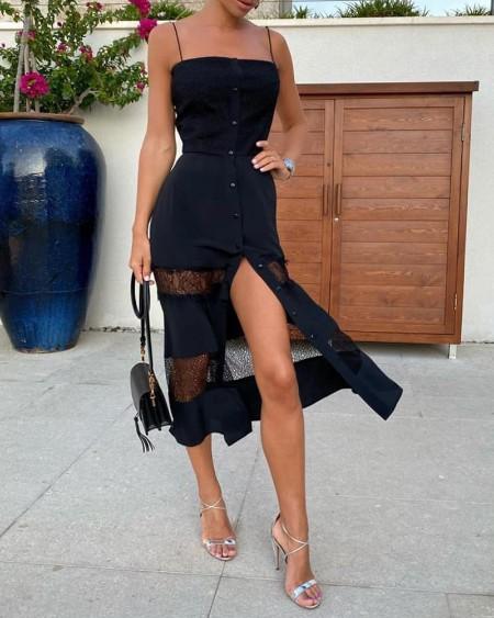 Buttoned Up Spaghetti Strap Lace Dress