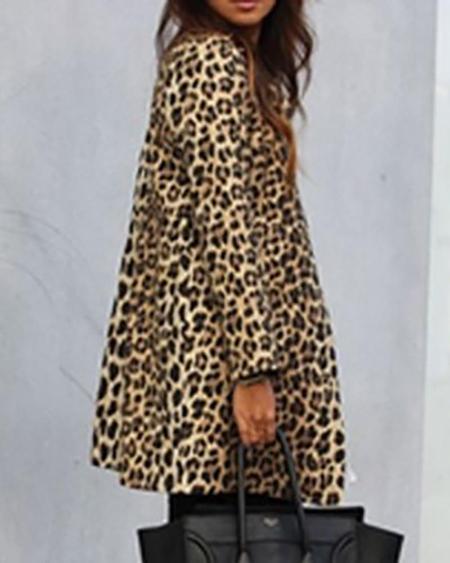 boutiquefeel / Leopard Print Long Sleeve Casual Longline Coat