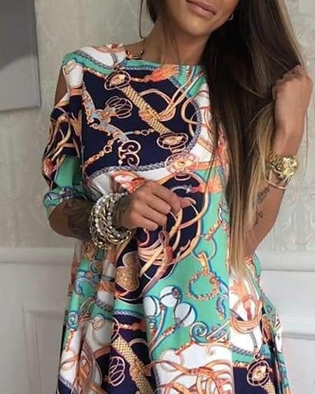 Chain Print Irregular Hem Casual Dress