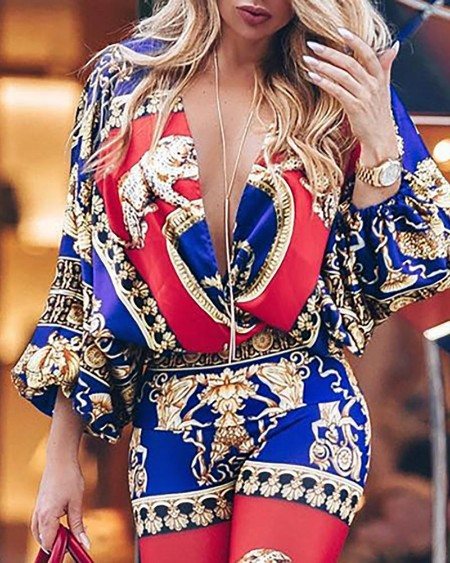 Colorblock Exotic Print Lantern Sleeve Jumpsuit