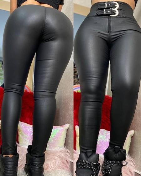 Buckled Zipper Design High Waist Skinny Pants