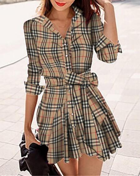 Plaid Long Sleeve Button Front Shirt Dress