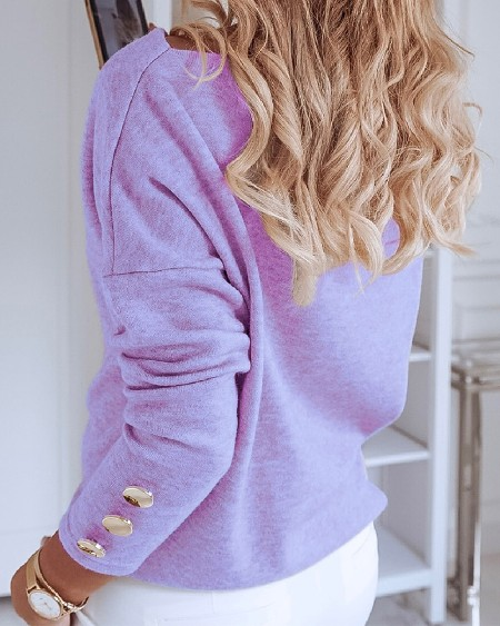 Solid Color Splicing Buttons Long Sleeve Blouse