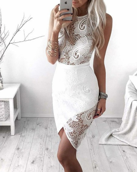 Solid Color Splicing Lace Fishnet Sleeveless Skinny Midi Dress