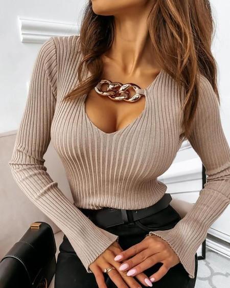 Chain Decor Bell Sleeve Rib-knit Top