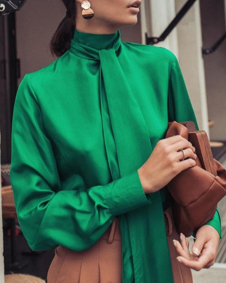Solid High Neck Tied Lantern Sleeve Blouse