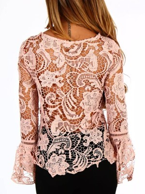 Sexy Flare Sleeve Lace Cover Up